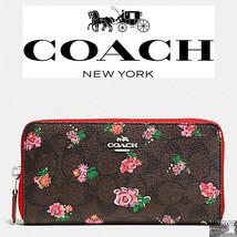 NWT COACH Floral Print Logo Brown Red Pink Zip ... - $96.98