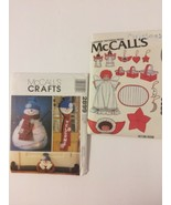 McCall's 2899 + 6320 Christmas Angel Ornaments Doll Snowman Wreath Draft... - $15.00