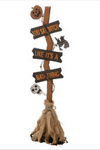 Halloween decoration 36IN WOOD/BURLAP WITCH BROOM seasonal - $118.79
