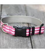 Mod Stripe Pink Grosgrain Adjustable Dog Collar / Made in Japan - $29.00