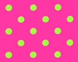 PINK LIME POLKA Dot Table Runner , Polka Dot Lime Chartreuse on Candy Pi... - $16.00