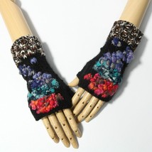 Blue Red Turquoise Abstract Design Knitted Fingerless Gloves - $17.30 CAD
