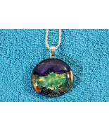 Elegant Glass Cabochon Pendant Necklace+ Silver Chain & Extension #EM075 - $6.92
