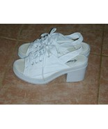 High Heel Sneakers White Canvas 1990s Vintage Women's Size 7 - $12.00