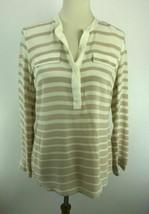 J McLaughlin Silk Blouse Top Womens Small Striped Long Sleeve Split Neck... - $14.44