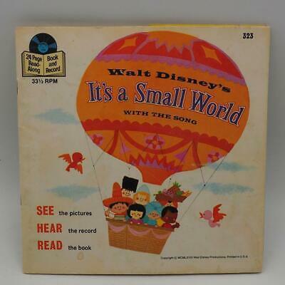 "Vintage Walt Disney's It's A Small World Book & Record 33 1/3 RPM Record 7"""