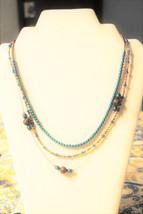 Aqua and Copper beaded 3 strand Necklace - $45.00