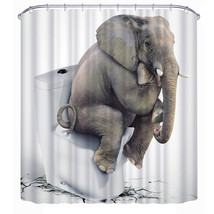 3D Elephant Thinkers Polyester Shower Curtain Anti-rust Curtain For Bathroom Wit - $28.80