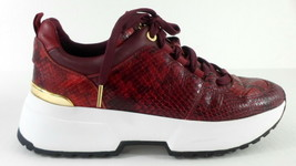 Michael Kors COSMO Red Snake Embossed Leather Trainers Sneakers sz 9M - $76.99