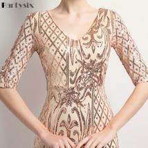 Partysix Half Sleeve Sequins Dress Women Elegant Long Evening Party Dress image 4