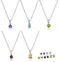 5 Sterling Silver Peridot Garnet Amethyst Blue Topaz Citrine Earrings Necklaces