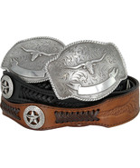 State of TEXAS LONGHORN WESTERN Style GENUINE LEATHER COWBOY CONCHO BELT - $29.95