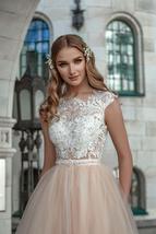 Peach Beach Wedding Dresses Cap Sleeve Lace Appliques Soft Tulle Boho Princess W image 3