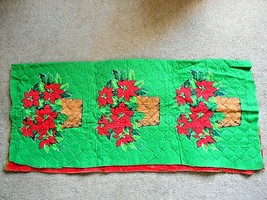 6 - Poinsettas in a Basket Placemats on Green Padded Material - $14.84