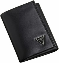 Guess Men's Leather Credit Card Id Wallet Passcase Trifold Black 31GU11X011