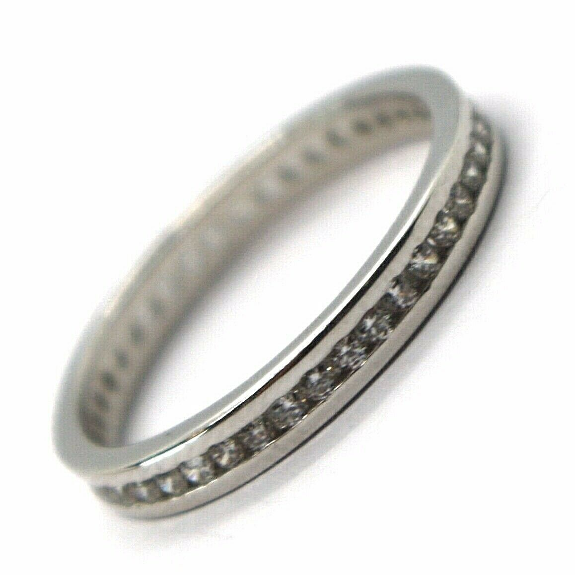 18K WHITE GOLD ETERNITY BAND BINARY RING, WHITE CUBIC ZIRCONIA, THICKNESS 3 MM