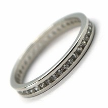 18K WHITE GOLD ETERNITY BAND BINARY RING, WHITE CUBIC ZIRCONIA, THICKNESS 3 MM image 1