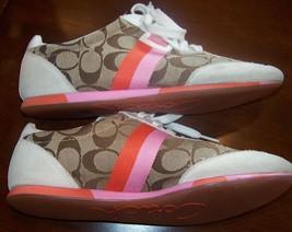 Coach Joss Leatherware Shoes Signature Logo Peach Pink Tan Brown Size 8.5 M - $34.77