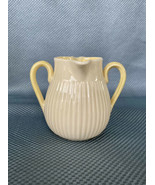 Belleek Twin Spout Two Handled Creamer Jug Pitcher - Cream/Yellow - Gree... - $42.08