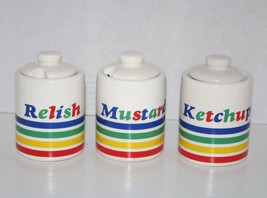 RETRO 1970's Diner Style Condiments jar set Mustard Ketchup Relish with ... - $49.49