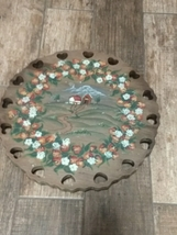 Hand painted Wooden Turn Table Farm Painting  - $20.00