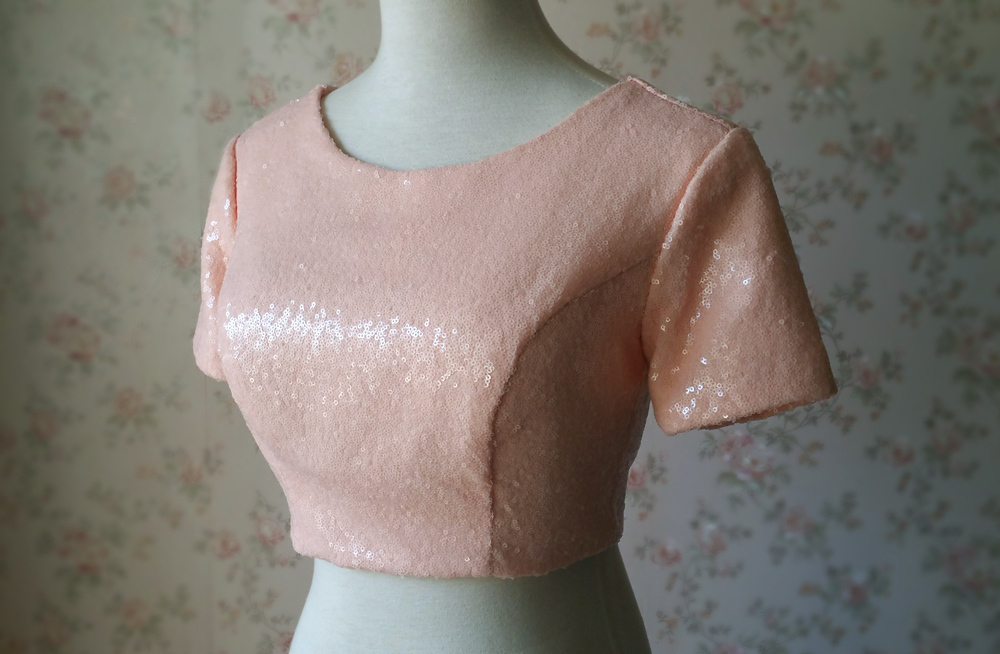 Gold BLUSH SEQUIN TOPS Short Sleeve Sequin Crop Tops Wedding Bridesmaid Top Plus