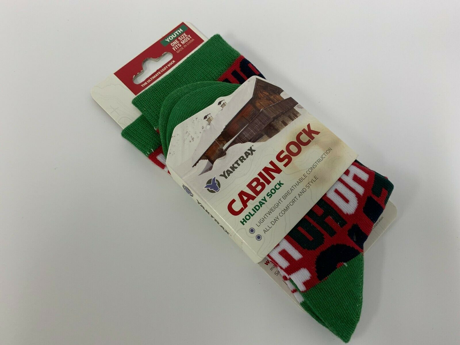 Yaktrax Youth Cozy Holiday Christmas Cabin Crew Socks, One Size Fits Most#213G