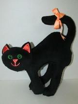 Plush black Halloween cat firm home decor arched back orange ears bow gr... - €11,32 EUR