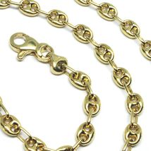 """18K YELLOW GOLD OVAL NAUTICAL MARINER CHAIN 5 MM, 20"""", ANCHOR ROUNDED NECKLACE image 3"""