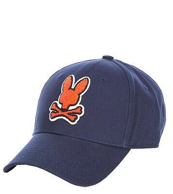 Psycho Bunny Men's Navy Embroidered Strapback Hat Sports Cotton Baseball Cap