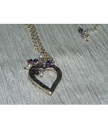 Estate 925 Marked Silver Dainty Open Circle Chain w Heart & Faux Pearl &... - $13.99