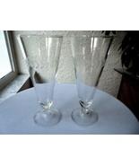 """Set of 2 Anchor Hocking Laurel Pattern Pilsner Glasses  7 1/2"""" Tall - £7.65 GBP"""
