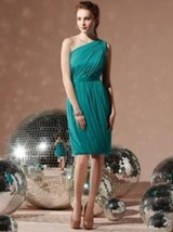 Dessy 8117....Cocktail length, one shoulder, chiffon dress....Jade...Sz 12 - $49.49