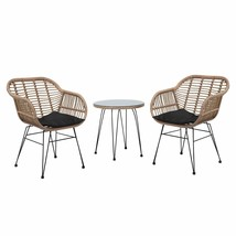 Modern 3PC Poly Rattan Bistro Set Weave Tempered Glass Top Tropea - $395.01