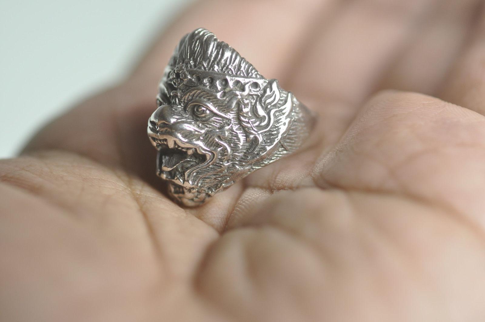 HANUMAN 925 Sterling Silver Hindu Ring Jewelry Buddha Monkey OM devotee of Rama