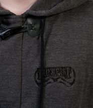 Iron Fist Mens Melcher French Rib Burnt Charcoal Hoodie Skull Moustache NWT image 3