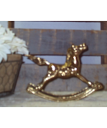 Vintage Mid Century Brass Rocking Horse Nursery Decor Collectible Figurine - $14.00