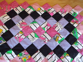 BEACH BABY quilt 27 x 37 handcrafted pink purple  - $35.00