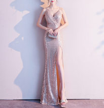 Sleeveless Sexy Sequin Dress V Neck High Slit Sequin Maxi Dress Gown Pink Gold image 4