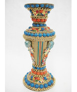 Brass Vase Incense Holder Embellished w Beads Gold Chain Colorful Mosaic... - $14.84