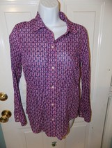 Vineyard Vines Pink with Blue Anchor Button Front Shirt Size 0 Women's EUC - $25.74