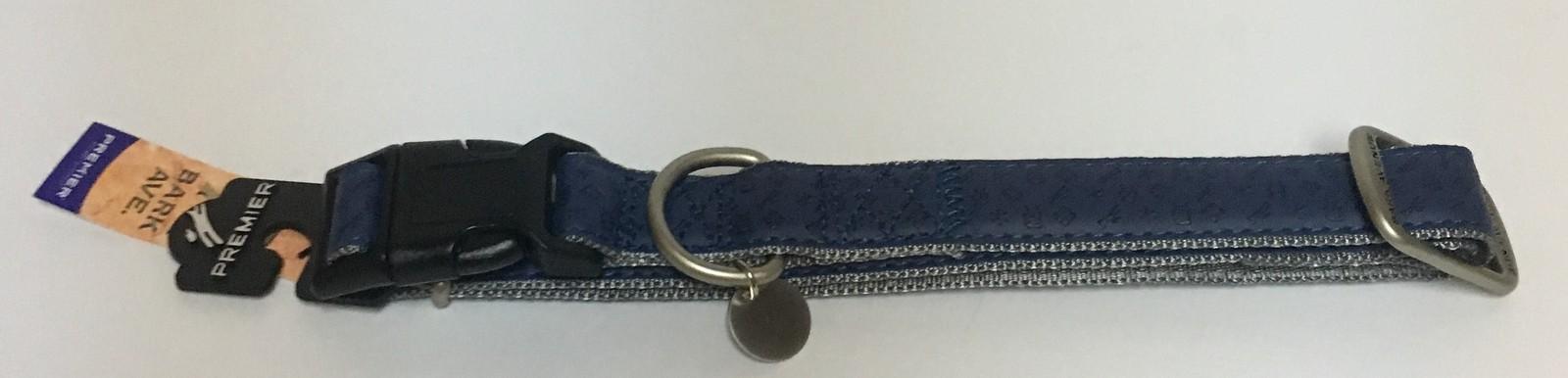 "Dog Collar Large Breed NWT Adjustable Blue 27"" x 1""W Bark Avenue"