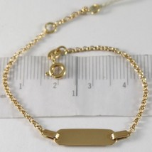 Armband Gelbgold 750 18K, Kreise Mini Rolo Und Platte FÜr Gravur, 15 Cm - $187.36