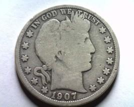 1907-D Barber Half Dollar Good+ G+ Nice Original Coin From Bobs Coins Fast Ship - $23.00