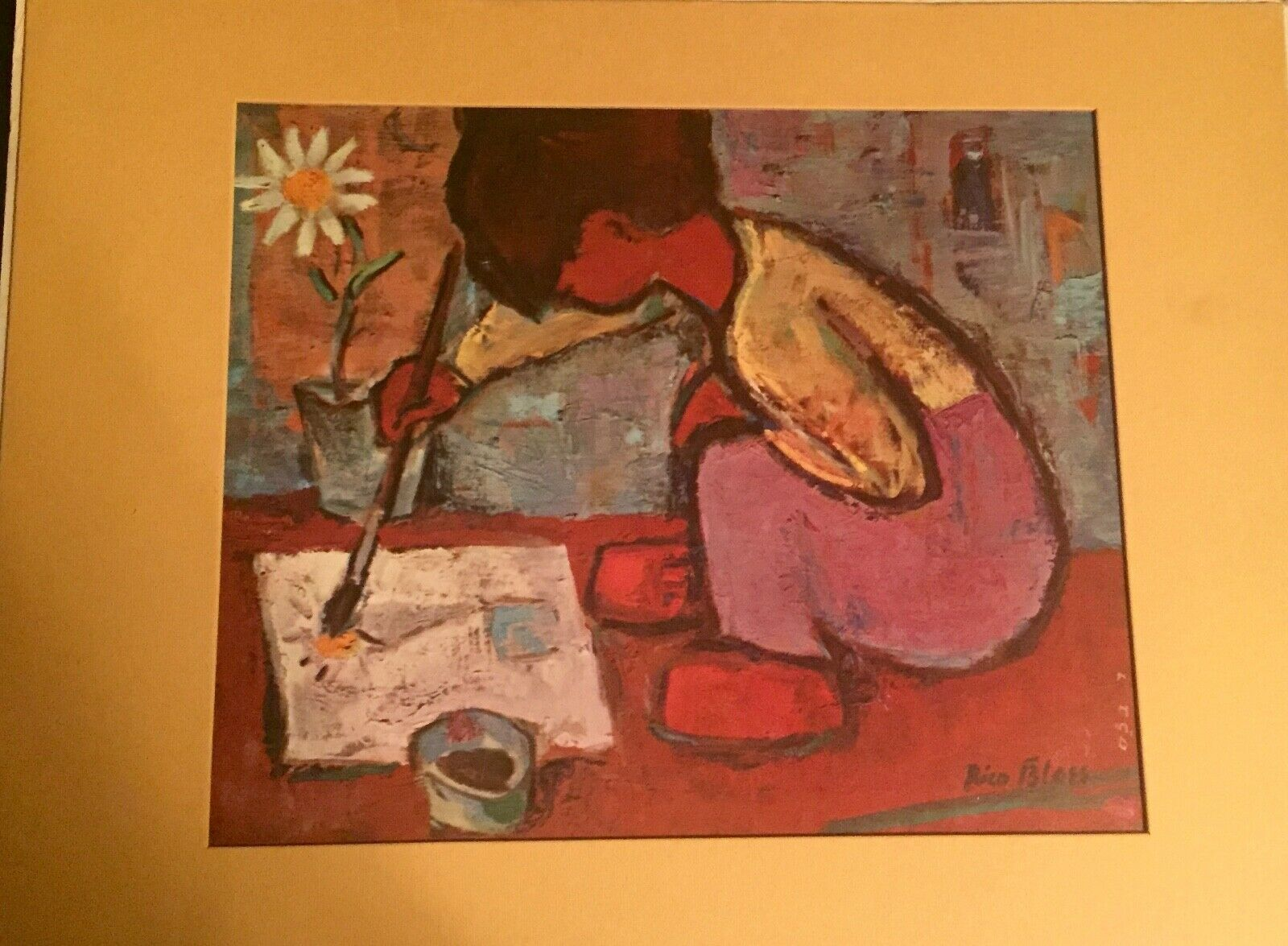 Primary image for Vintage Rico Blass Silkscreen  Child Painting