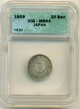 Japan Silver 1909 20 Sen UNC MS64 ICG - $94.08