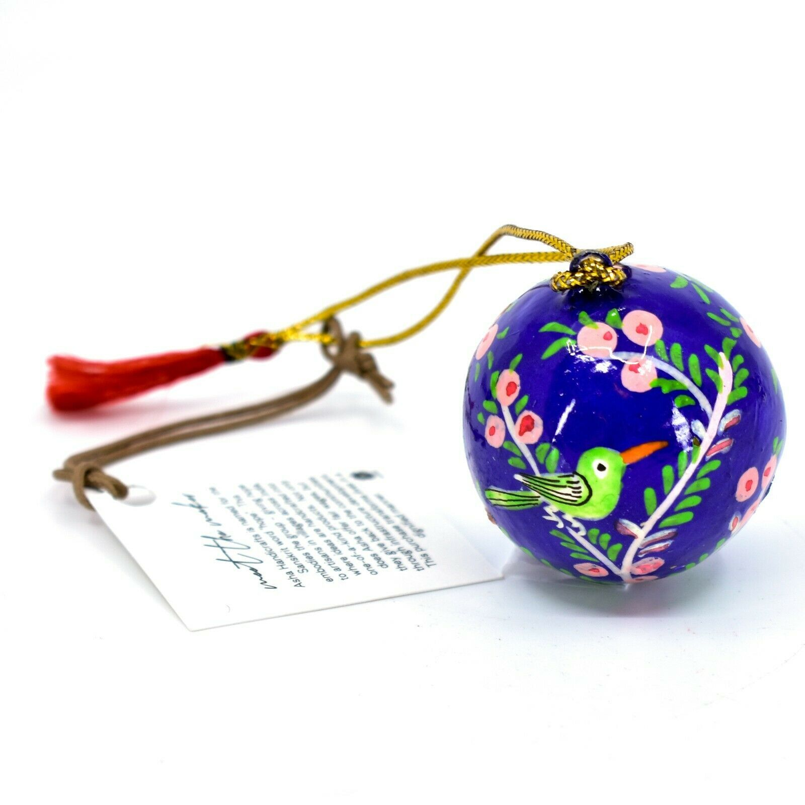 Asha Handicrafts Hand Painted Papier-Mâché Blue Bird Holiday Christmas Ornament