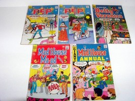 Vintage Lot of 5 Archie Comics 1969-73 Pep, Mad House, Betty & Veronica - $7.75
