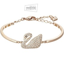 Made W/ Swarovski Crystal Swan Bangle Bracelet Rose Gold - Adjustable wM... - $48.51