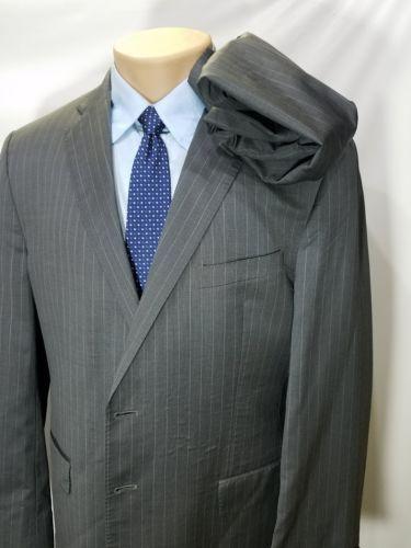 ERMENEGILDO ZEGNA SHANG CLOTH GRAY PINSTRIPES WOOL SILK 2 BUTTONS ITALY 44R USA